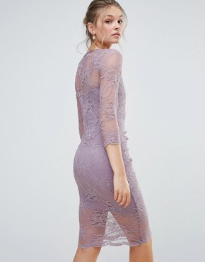 photo Bodycon Midi Lace Dress with Scalloping and Ruched Front by Body Frock, color Dusky Lilac - Image 2