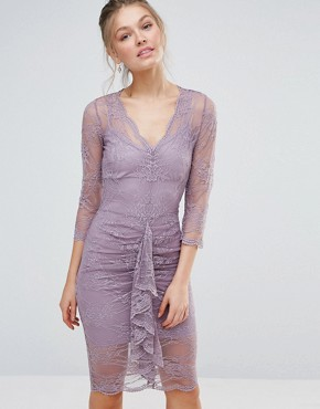 photo Bodycon Midi Lace Dress with Scalloping and Ruched Front by Body Frock, color Dusky Lilac - Image 1