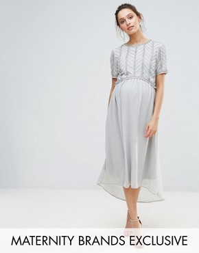 photo Hi Lo Midi Dress with Embellished Bodice by Maya Maternity, color Silver - Image 1