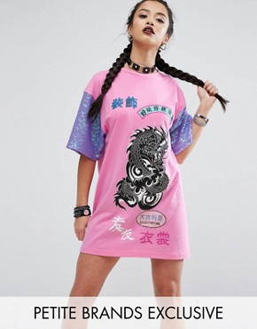 photo Oversized Rock T-Shirt Dress With Contrast Sequin Sleeve Detail by Jaded London Petite, color Pink - Image 1