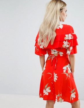 photo Ruffle Shoulder Mini Tea Dress In Floral Print by John Zack Petite, color Red Floral - Image 2