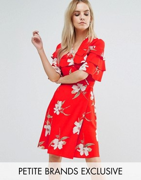 photo Ruffle Shoulder Mini Tea Dress In Floral Print by John Zack Petite, color Red Floral - Image 1