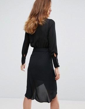 photo Wrap Shirt Dress by Sisley, color Black - Image 2