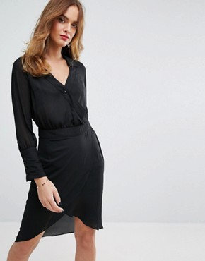 photo Wrap Shirt Dress by Sisley, color Black - Image 1