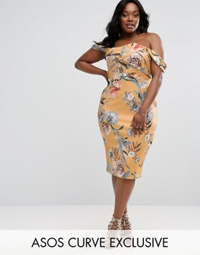 photo Scuba Fold Bardot Midi Dress In Floral by ASOS CURVE, color  - Image 1