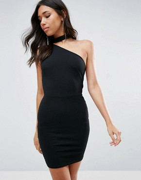photo One Shoulder Mini Dress by Oh My Love, color Black - Image 1
