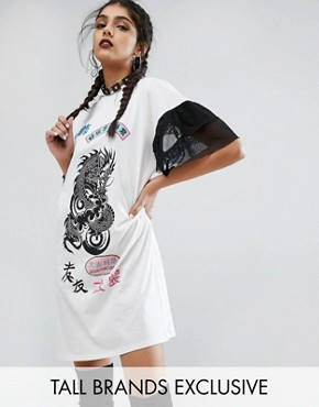 photo Oversized Rock T-Shirt Dress With Mesh Frilly Sleeve by Jaded London Tall, color Cream - Image 1