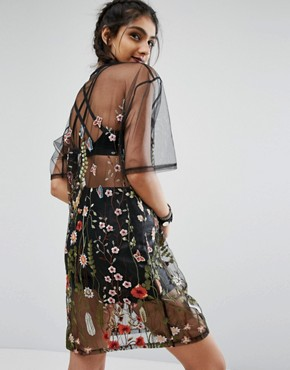 photo Oversized Embroidered Mesh Dress by Jaded London Tall, color Black - Image 2