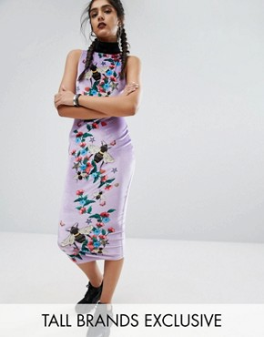 photo Column High Neck Printed Bee Midi Dress by Jaded London Tall, color  - Image 1