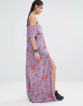 photo Frill Cold Shoulder Printed Maxi Dress with Thigh Splits by Jaded London Tall, color  - Image 2