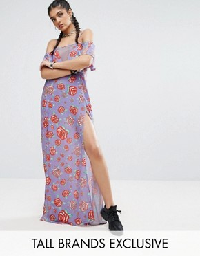 photo Frill Cold Shoulder Printed Maxi Dress with Thigh Splits by Jaded London Tall, color  - Image 1