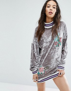 photo Oversized Embroidered Velvet Jumper Dress with Rib Detail by Jaded London Tall, color  - Image 2
