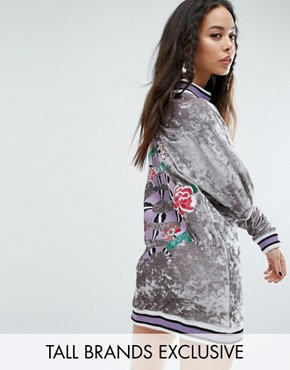 photo Oversized Embroidered Velvet Jumper Dress with Rib Detail by Jaded London Tall, color  - Image 1