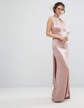 photo Multiway Maxi Dress in Sheen by TFNC WEDDING, color Mink - Image 2