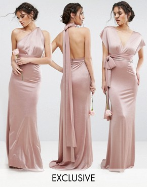 photo Multiway Maxi Dress in Sheen by TFNC WEDDING, color Mink - Image 1
