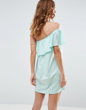 photo One Shoulder Dress with Frill by ASOS, color Turquoise - Image 2