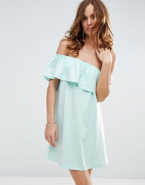 photo One Shoulder Dress with Frill by ASOS, color Turquoise - Image 1