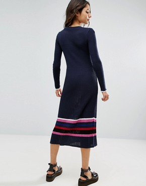 photo Knitted Dress With Stripe Hem by ASOS, color Navy - Image 2