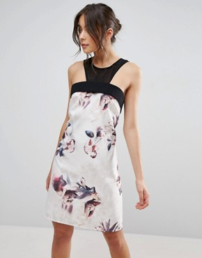 photo Floral A Line Dress With Sheer Insert by Little Mistress, color  - Image 1