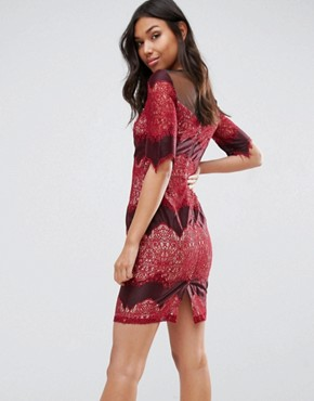 photo Lace Layered Mini Pencil Dress by Little Mistress, color Red - Image 2