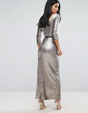 photo Sequinned Maxi Dress by Little Mistress, color Silver - Image 2