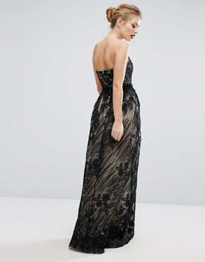 photo Contrasting Lace Maxi Dress by Little Mistress, color Black - Image 2