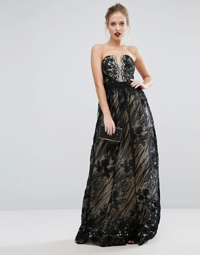photo Contrasting Lace Maxi Dress by Little Mistress, color Black - Image 1