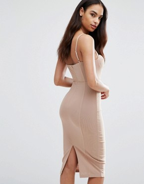 photo Cami Pencil Dress with Boned Corset Bodice by Misha Collection, color Taupe Nude - Image 2
