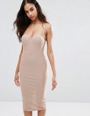photo Cami Pencil Dress with Boned Corset Bodice by Misha Collection, color Taupe Nude - Image 1