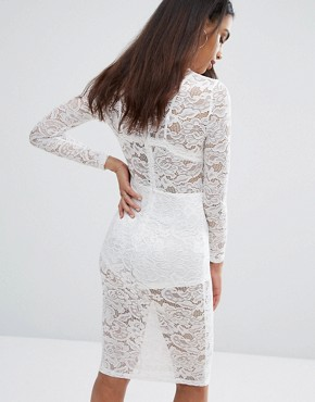 photo Sheer Lace Pencil Dress by Misha Collection, color Ivory - Image 2