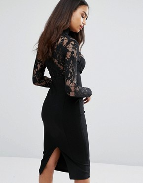 photo Sweetheart Pencil Dress With Eyelash Lace Sleeves by Misha Collection, color Black - Image 2