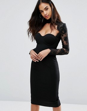 photo Sweetheart Pencil Dress With Eyelash Lace Sleeves by Misha Collection, color Black - Image 1