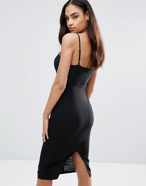 photo Cami Pencil Dress With Boned Corset Bodice by Misha Collection, color Black - Image 2