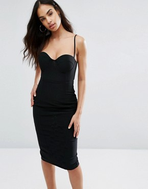 photo Cami Pencil Dress With Boned Corset Bodice by Misha Collection, color Black - Image 1