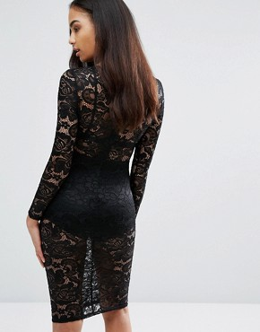 photo Sheer Lace Pencil Dress by Misha Collection, color Black - Image 2
