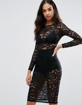 photo Sheer Lace Pencil Dress by Misha Collection, color Black - Image 1