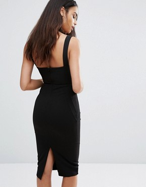 photo Pencil Dress with Strap Detail by Misha Collection, color Black - Image 2