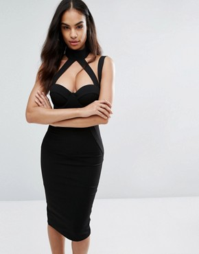 photo Pencil Dress with Strap Detail by Misha Collection, color Black - Image 1