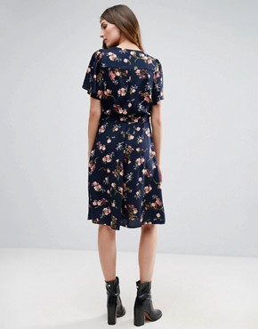 photo Belted Floral Print Wrap Dress by Vero Moda Tall, color Black Iris Aop - Image 2
