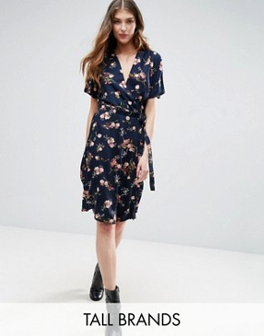 photo Belted Floral Print Wrap Dress by Vero Moda Tall, color Black Iris Aop - Image 1