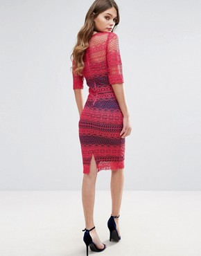 photo Lace Midi Dress by Paper Dolls, color Red - Image 2