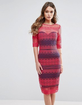 photo Lace Midi Dress by Paper Dolls, color Red - Image 1