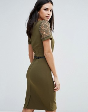 photo Pencil Dress With Belt by Paper Dolls, color Green - Image 2