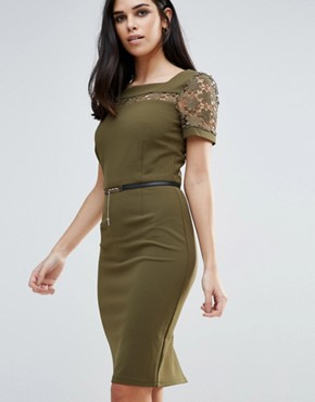 photo Pencil Dress With Belt by Paper Dolls, color Green - Image 1