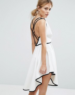 photo Asher Plunge Front Dress with Dipped Hem by Finders Keepers, color White/Black - Image 2