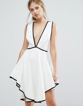 photo Asher Plunge Front Dress with Dipped Hem by Finders Keepers, color White/Black - Image 1