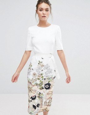 photo Layli Pencil Dress by Ted Baker, color Ivory - Image 1