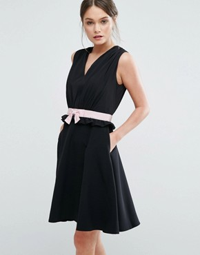 photo Vexi Skater Dress by Ted Baker, color Black - Image 1
