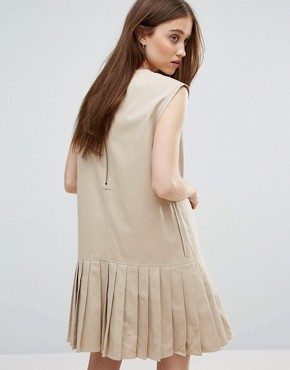 photo Pleat Hem Dress with Pocket by Weekday, color Beige - Image 2
