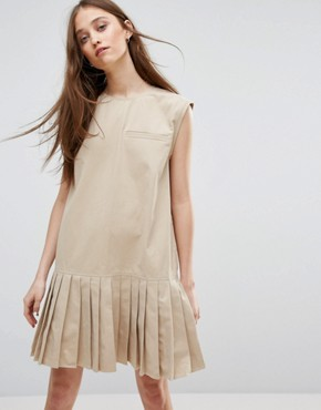 photo Pleat Hem Dress with Pocket by Weekday, color Beige - Image 1